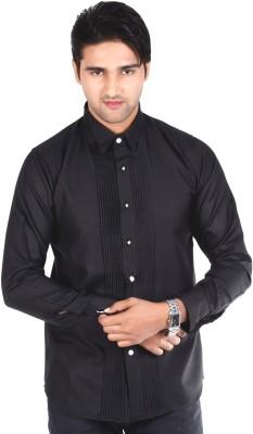 S9 Men's Solid Formal, Wedding, Party Black Shirt