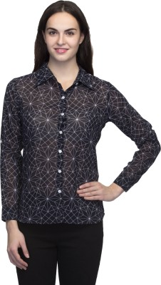 Wisstler Women's Printed Casual Black Shirt