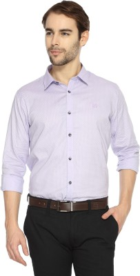 Derby Jeans Community Men's Printed Casual Purple Shirt