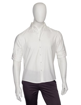 Cotton Natural Men's Solid Formal White Shirt