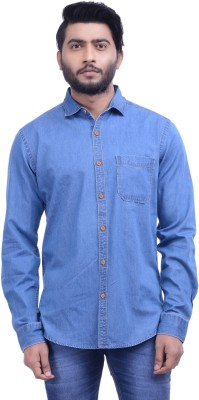 Hoffmen Men's Solid Casual Blue Shirt