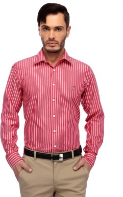 FRANK JEFFERSON Men's Striped Casual Red Shirt