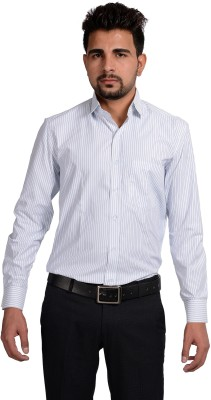 Riwas Collection Men,s Striped Formal White, Blue Shirt