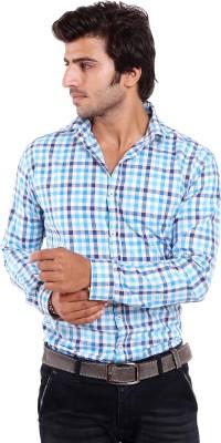 Deeksha Men's Checkered Casual Blue Shirt