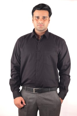 RIPARV Men's Solid Formal Black Shirt