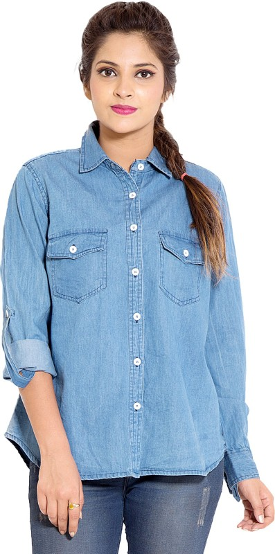 Goodwill Impex Women's Solid Casual Denim Blue Shirt