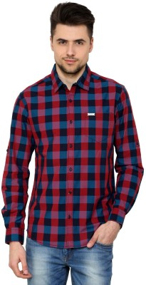 The Indian Garage Co. Men,s Checkered Casual Maroon Shirt