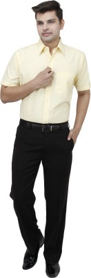 koutons outlaw Men's Solid Formal Yellow Shirt