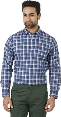 London Fog Men's Checkered Formal Blue, Grey Shirt