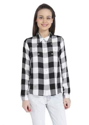 Only Womens Checkered Casual Black, White Shirt