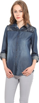 La Stella Women's Solid Casual Denim Blue Shirt