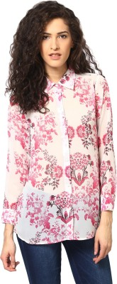 Love From India Women's Floral Print Casual Pink Shirt