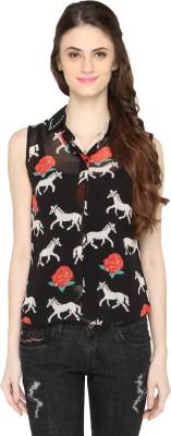 Bedazzle Women's Animal Print Casual Black Shirt