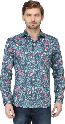 Mayank Modi Men's Floral Print Casual Blue Shirt