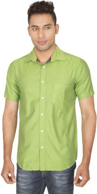 SmartCasuals Men's Solid Casual Green Shirt