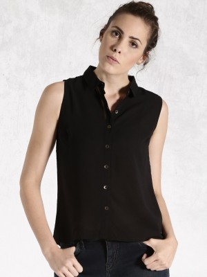 Roadster Women's Solid Casual Black Shirt