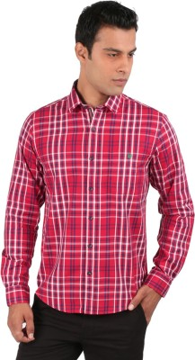J Hampstead Men's Checkered Casual Red Shirt