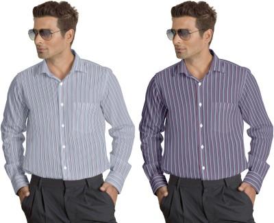 Willmohr Men's Striped Casual Linen Multicolor Shirt