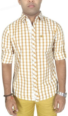 Southbay Men's Checkered Formal Yellow Shirt