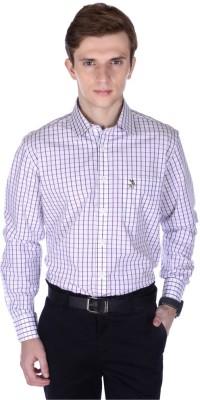 Frank Jefferson Men's Checkered Formal White Shirt