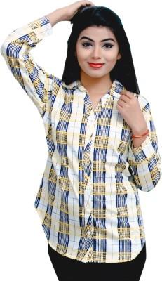 RIWAZ Women's Checkered Casual White Shirt