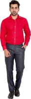Wardtrobe Formal Shirts (Men's) - Wardtrobe Men's Solid Formal Red Shirt
