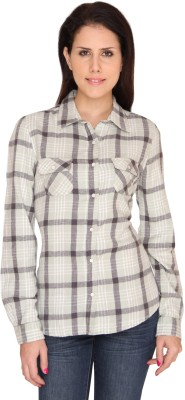 Bedazzle Women's Checkered Casual Green Shirt