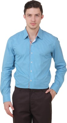 Roar and Growl Men's Checkered Casual Blue Shirt