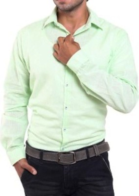 Aaral Men's Solid Casual Light Green Shirt