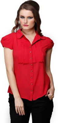 Desert Rose Women's Solid Party Red Shirt