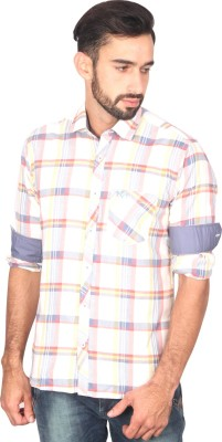 Ashford Brown Men's Checkered Casual White Shirt