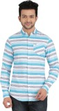 Anytime Men's Striped Casual Blue, White...
