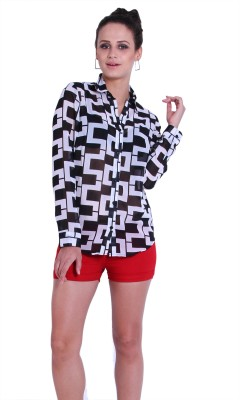 TheGudLook Women,s Printed Casual Black, White Shirt
