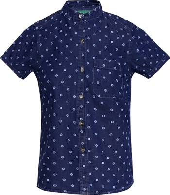 Slub Junior By Inmark Boy's Polka Print Casual Blue Shirt