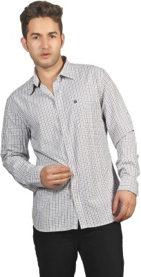 P4 Men's Checkered Casual Black, Purple Shirt