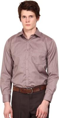 I-Voc Men's Striped Formal Brown, White Shirt