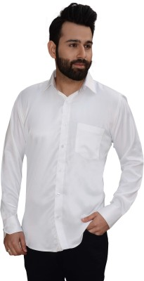 Big Brother Men's Solid Party, Casual, Festive White Shirt