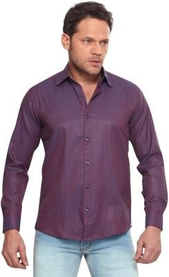 Club Fox Men,s Solid Casual Purple Shirt