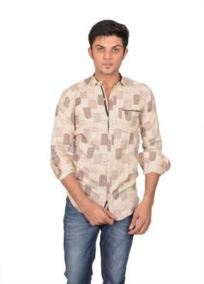 Suzee Men's Printed Casual Brown Shirt