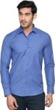 Kalpatru Men's Solid Formal Blue Shirt