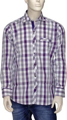 Exin fashion Men's Checkered Casual Purple, White Shirt