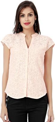 Eavan Women,s Self Design Casual Orange Shirt