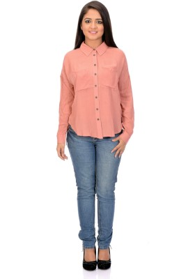 Instinct Women's Solid Casual Pink Shirt