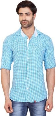 GoPlay Men's Checkered Casual Linen Blue Shirt