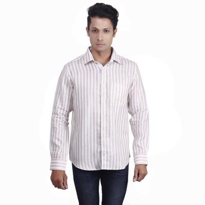 Nanya Men's Solid Casual Linen Beige Shirt