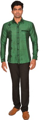 DoubleF Men's Solid Casual Green Shirt