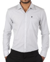 Forty One Fitzroy Formal Shirts (Men's) - Forty One Fitzroy Men's Striped Formal Blue Shirt