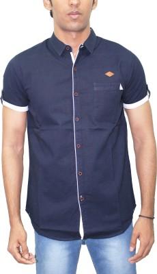 Kuons Avenue Men's Solid Casual Linen Blue, Dark Blue Shirt