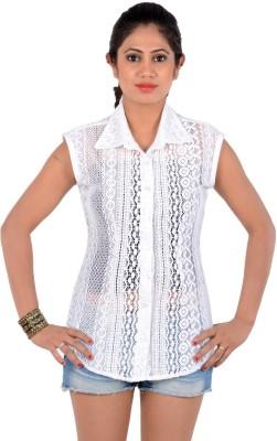 S9 Women's Self Design Casual, Beach Wear, Formal White Shirt