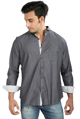 Faceman Men's Solid Casual, Festive, Lounge Wear, Party Grey Shirt